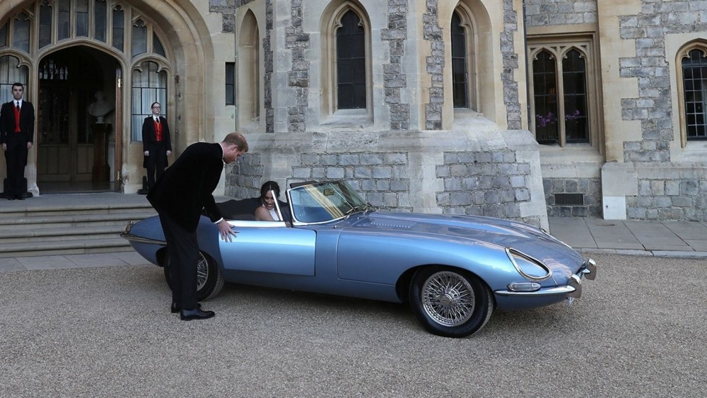 Prince Harry And Meghan Drive Away In A $500,000 1968 E-Type Jaguar