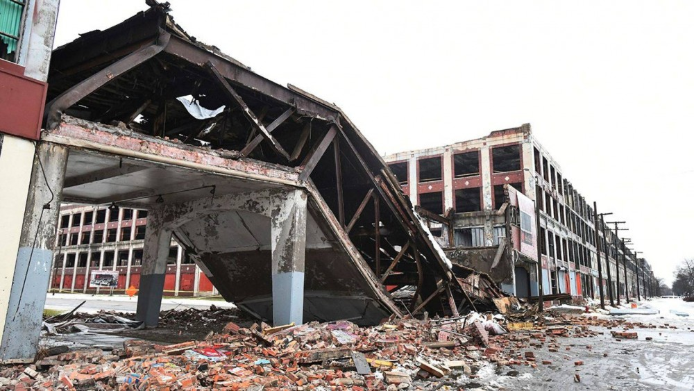 Historic Packard Automotive Plant Bridge Collapses