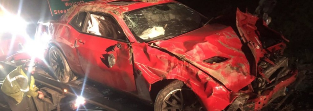 Speeder Wrecked Dodge Challenger Hellcat At 130 MPH While Running From Cops