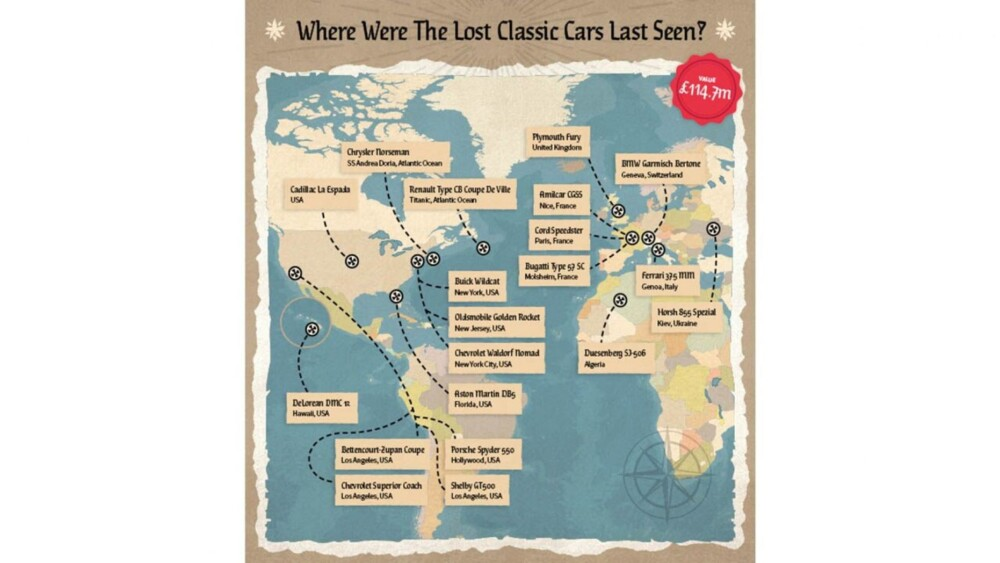 $200M classic car treasure map shows last location of famous missing cars